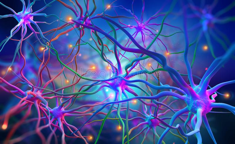 Neural networks of the human brain. 3d illustration of abstract nerve centers. Electrical impulses in brain. Bright full color stock illustration