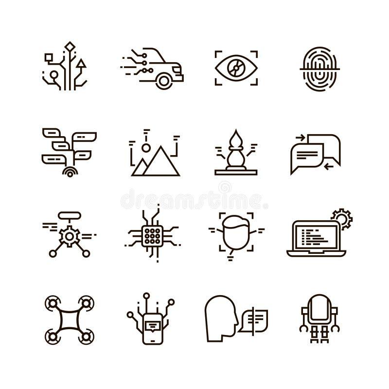 Neural sieć, sztucznej inteligenci linii wektoru ikony Twarz, mowa i wizerunku rozpoznanie, ilustracja wektor