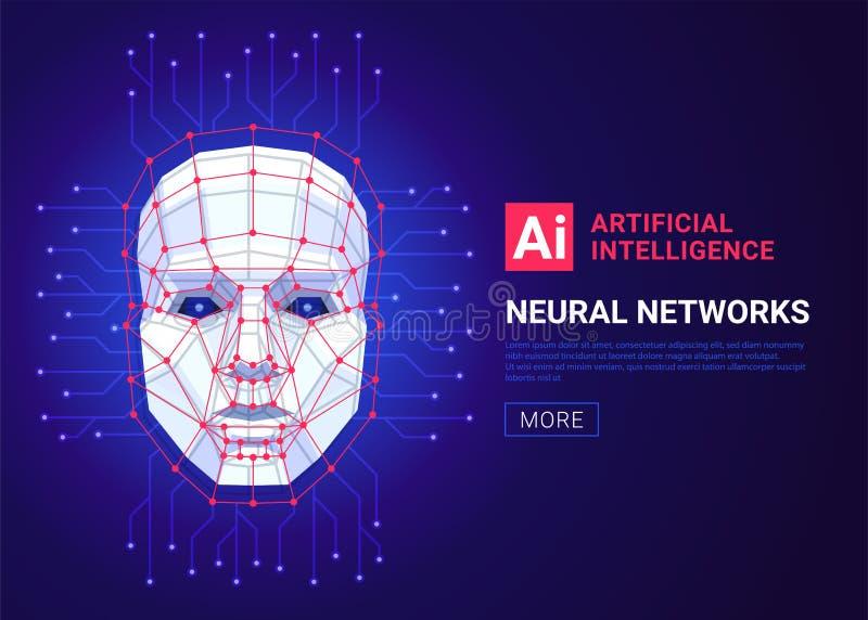 Neural sieci i sztucznej inteligencji pojęcie Twarz ludzka składa się wieloboki, punkty, linie i binarnych dane, ilustracja wektor