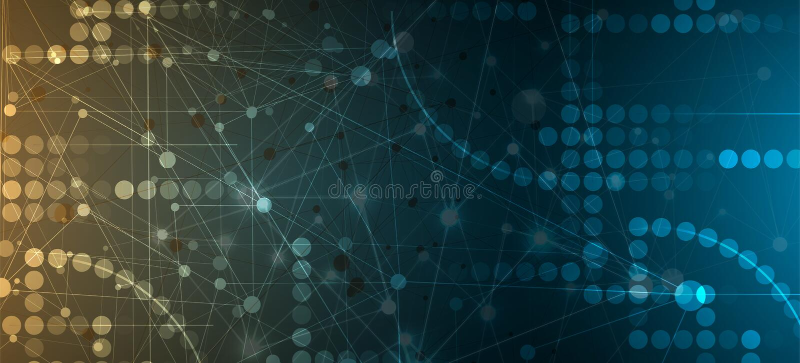 Neural sieci pojęcie Związane komórki z połączeniami Wysoki technol ilustracja wektor