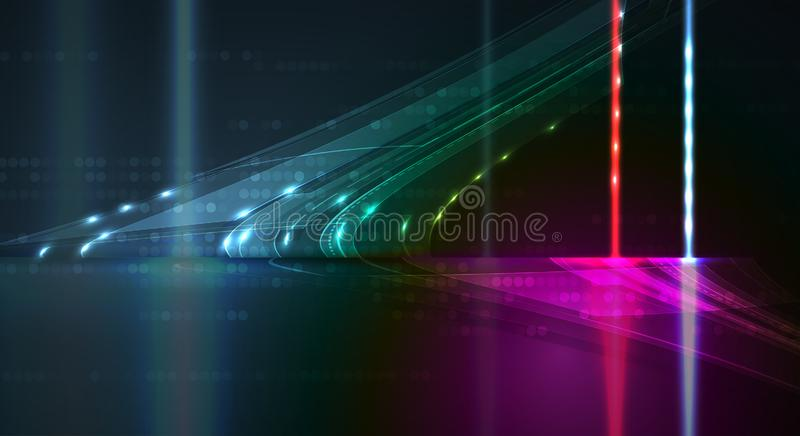 Neural sieci pojęcie Związane komórki z połączeniami Wysoki technol royalty ilustracja