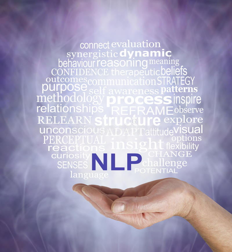 Neuro Linguistic Programming word cloud. Male hand palm up with a circular NLP word cloud floating above on a misty muted purple grey background royalty free stock image