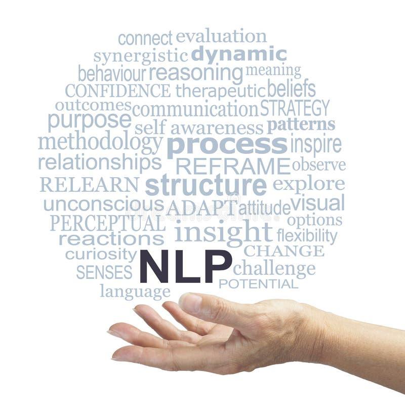 Neuro språkligt praktiker för programmera som erbjuder molnet för NLP-ordetikett royaltyfri fotografi