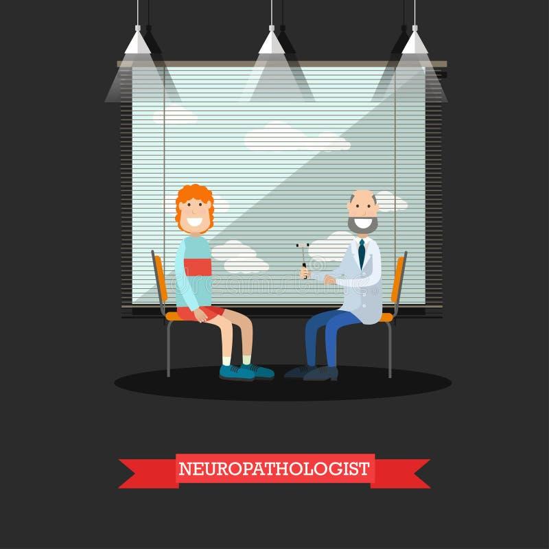 Neurolog- och patientvektorillustration i plan stil stock illustrationer