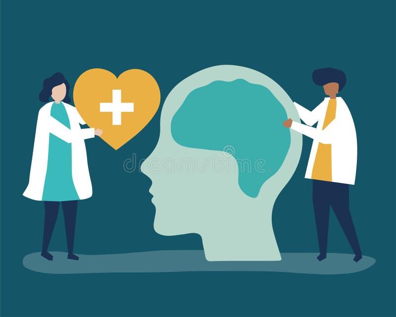 Neurologen mit einem riesigen Diagramm des menschlichen Gehirns und der Herzikone stock abbildung