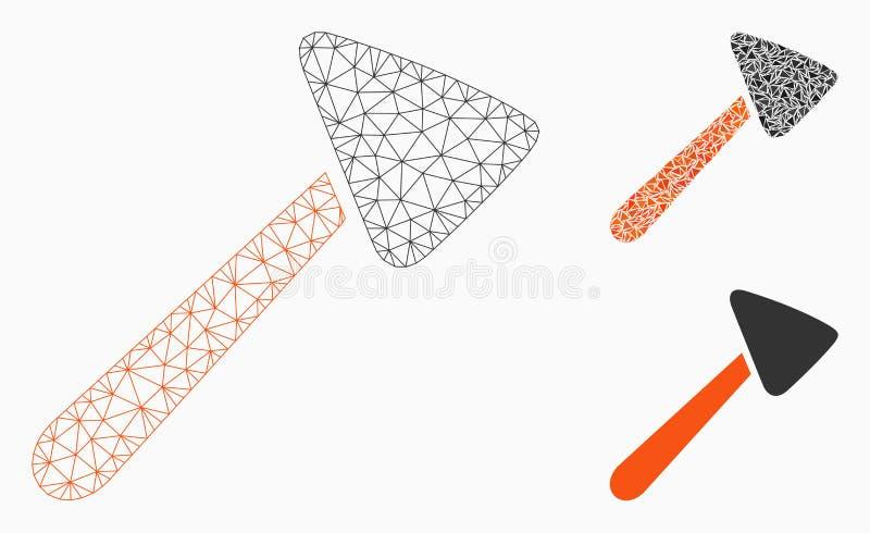 Neurologhammarevektor Mesh Network Model och mosaisk symbol för triangel stock illustrationer