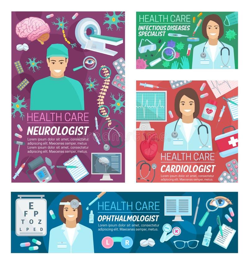 Neurologi-, kardiologi- och oftalmologimedicin royaltyfri illustrationer