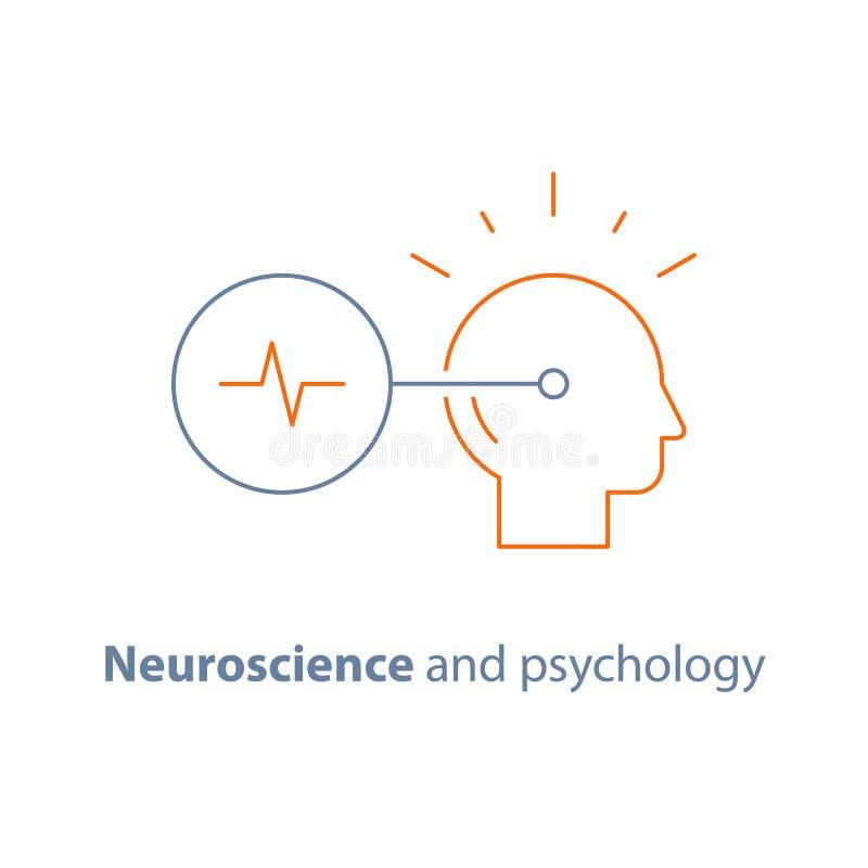 Neurologia e psicologia, logotipo da tomada de decisão, mindset crítico, pensamento criativo, tarefa do treinamento do cérebro ilustração stock