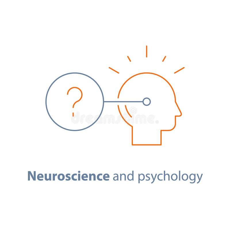 Neurologia e psicologia, logotipo da tomada de decisão, mindset crítico, questionário ilustração do vetor