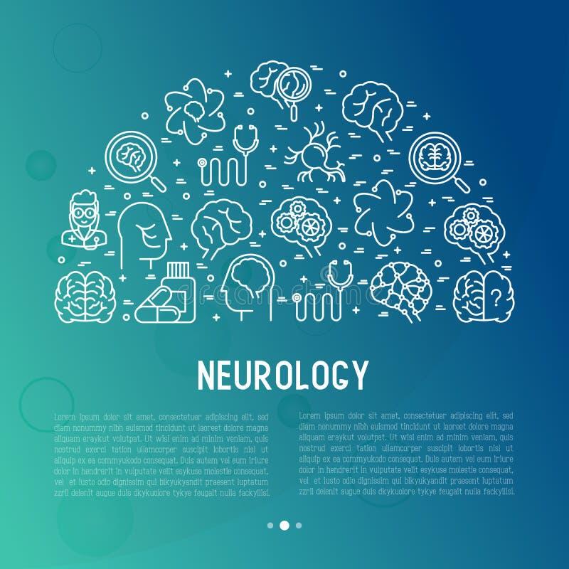 Neurologibegrepp i cirkel med den tunna linjen symboler royaltyfri illustrationer