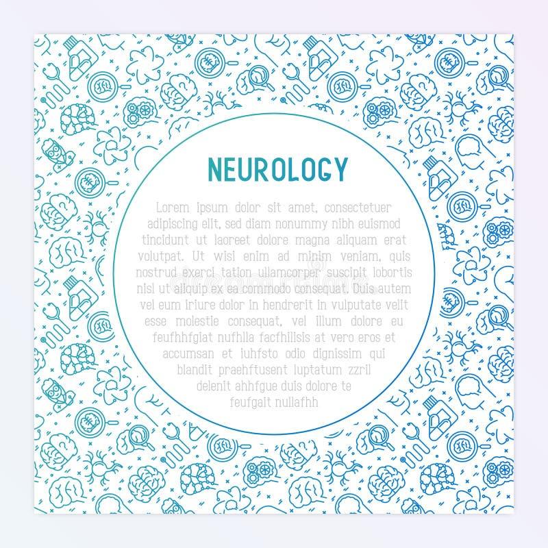 Neurologibegrepp med den tunna linjen symboler royaltyfri illustrationer