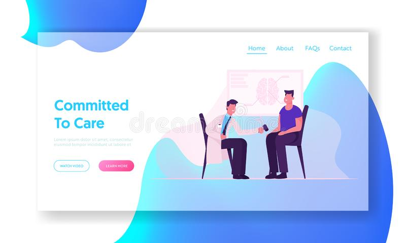 Neurological Doctor Appointment Website Landing Page. Neurologist Practitioner Making Medical Examination to Patient royalty free illustration