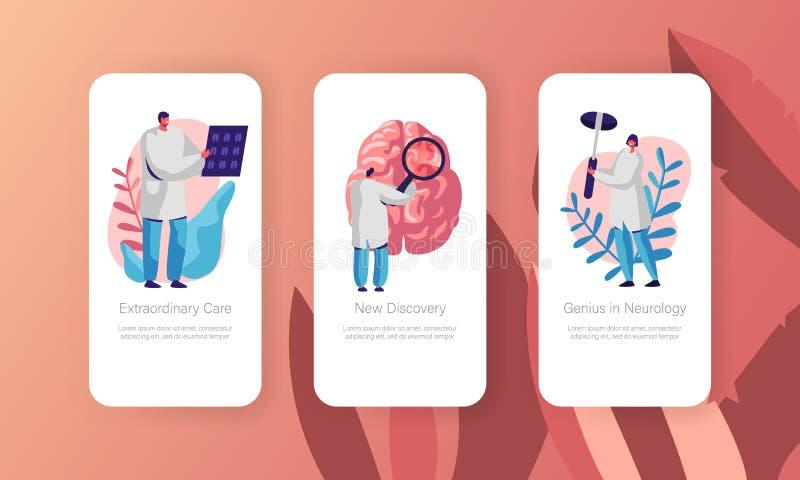 Neurologicznego Egzaminacyjnego pojęcia App Mobilna strona Na ekranu secie Opieki zdrowotnej technologia Neurolog lekarka Bada to royalty ilustracja