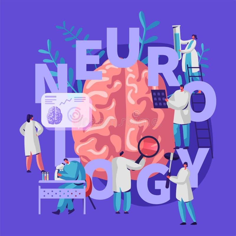 Neurologie Medische Banner Geneeskundeneuroloog Professionele Kenmerkend van Artsenhospital worker specialist Tomografieonderzoek vector illustratie