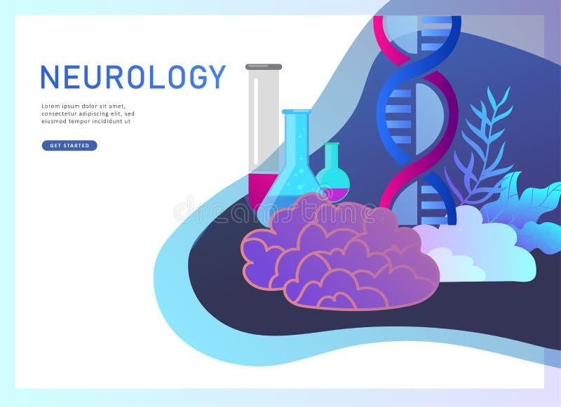 Neurologiegenetikkonzept Flaches Doktorärzteteam der kleinen Leute der Art, das, DNA konstruierend arbeitet und erforschen vektor abbildung