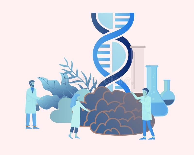 Neurologigenetikbegrepp Plan medicinskt lag för stilpysslingar doktorer som arbetar och att konstruera DNA:t som forskar royaltyfri illustrationer