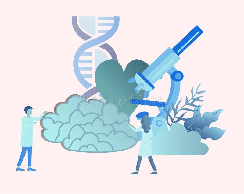 Neurologigenetikbegrepp Plan medicinskt lag för stilpysslingar doktorer som arbetar och att konstruera DNA:t som forskar vektor illustrationer