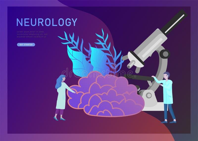 Neurologigenetikbegrepp Plan medicinskt lag för stilpysslingar doktorer som arbetar och att konstruera DNA:t som forskar stock illustrationer