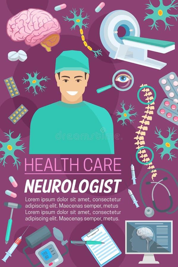 Neurologimedicindoktor och medicinska objekt royaltyfri illustrationer