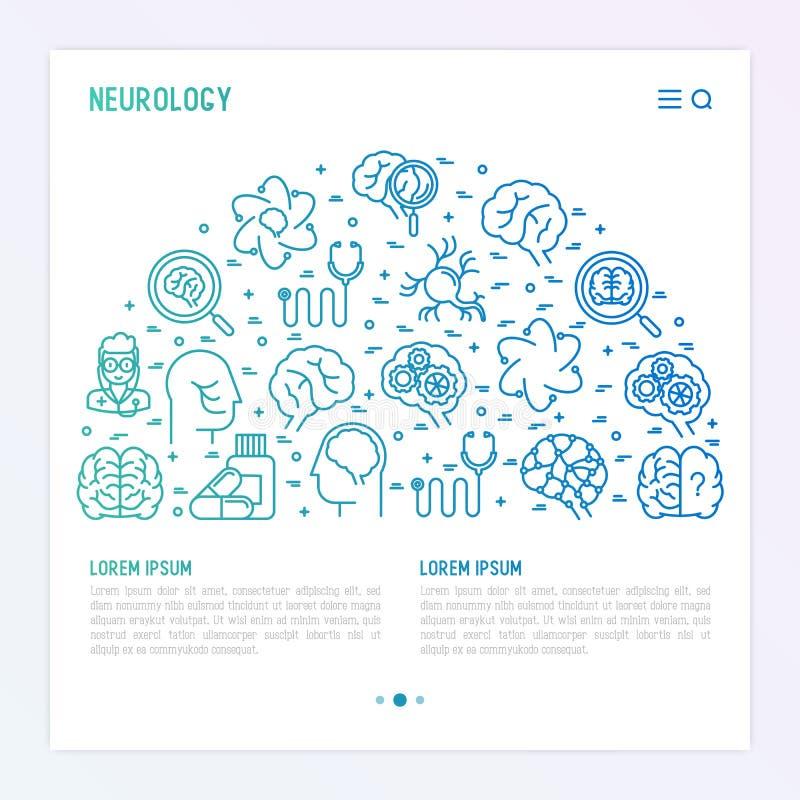 Neurology concept in half circle royalty free illustration
