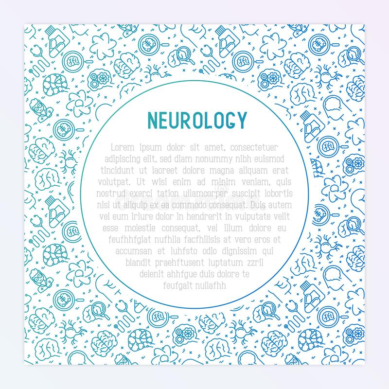 Neurology concept with thin line icons. Brain, neuron, neural connections, neurologist, magnifier. Vector illustration for background of medical survey or royalty free illustration
