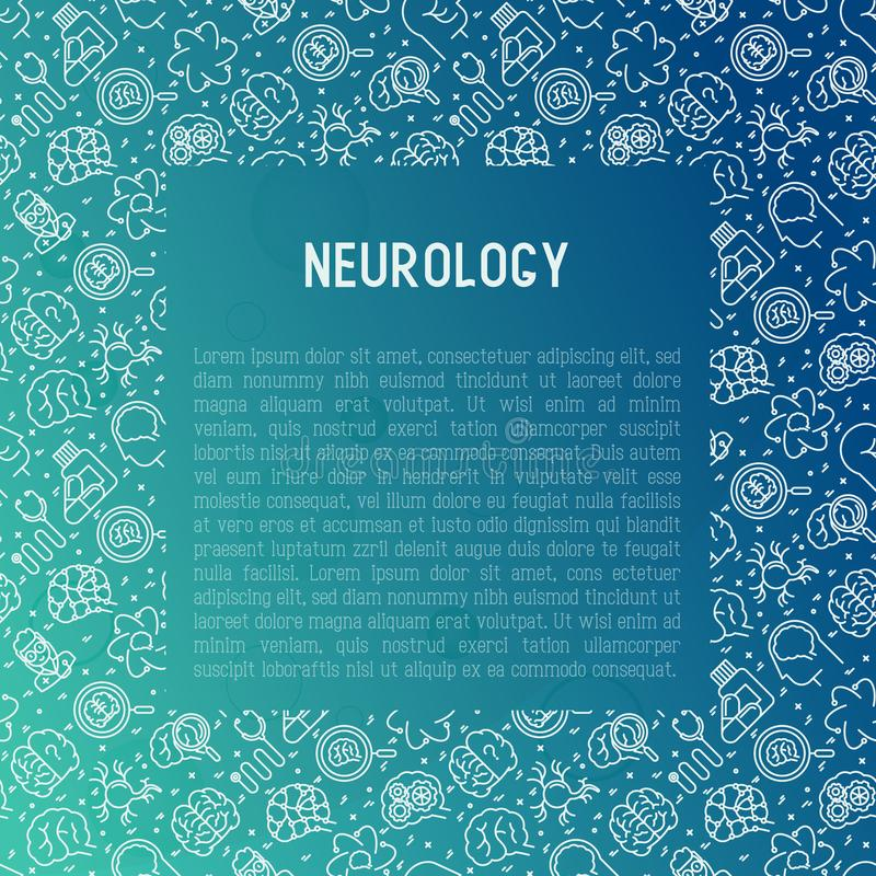 Neurology concept with thin line icons vector illustration