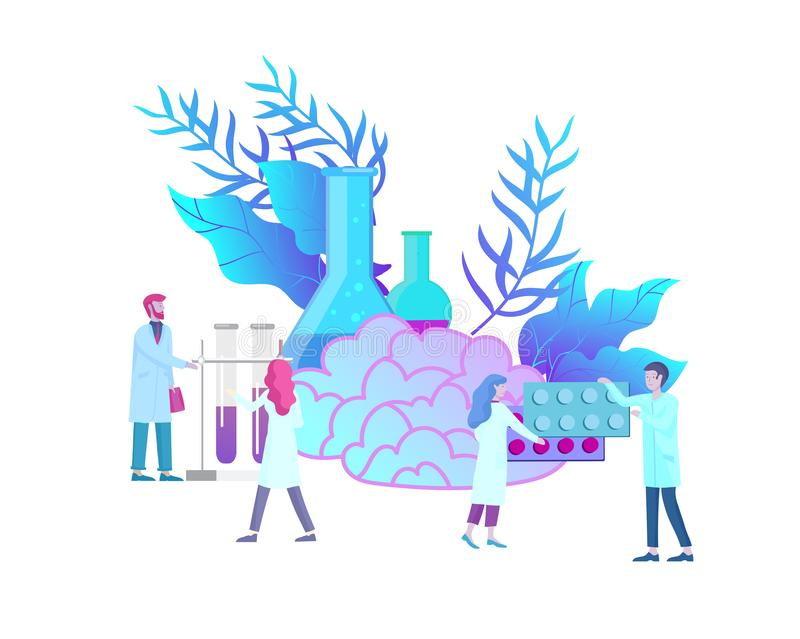 Neurology genetics concept. Flat style little people doctors medical team working, constructing DNA, researching vector illustration