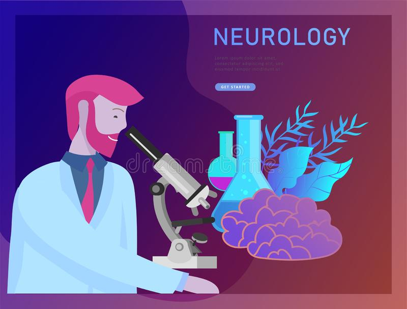 Neurology genetics concept. Flat style little people doctors medical team working, constructing DNA, researching royalty free illustration