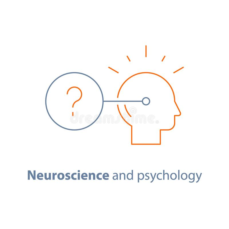 Neurology and psychology, decision making logo, critical mindset, questionnaire. Decision making logo, neurology and psychology, critical mindset, questionnaire vector illustration