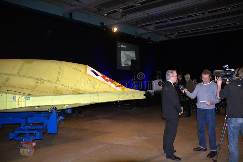 NEURON. Saab delivers the hull of the new unmanned stealthfighter nEUROn to French manufacturer Dassault at a ceremony at the Saab plant in Linköping on royalty free stock photos