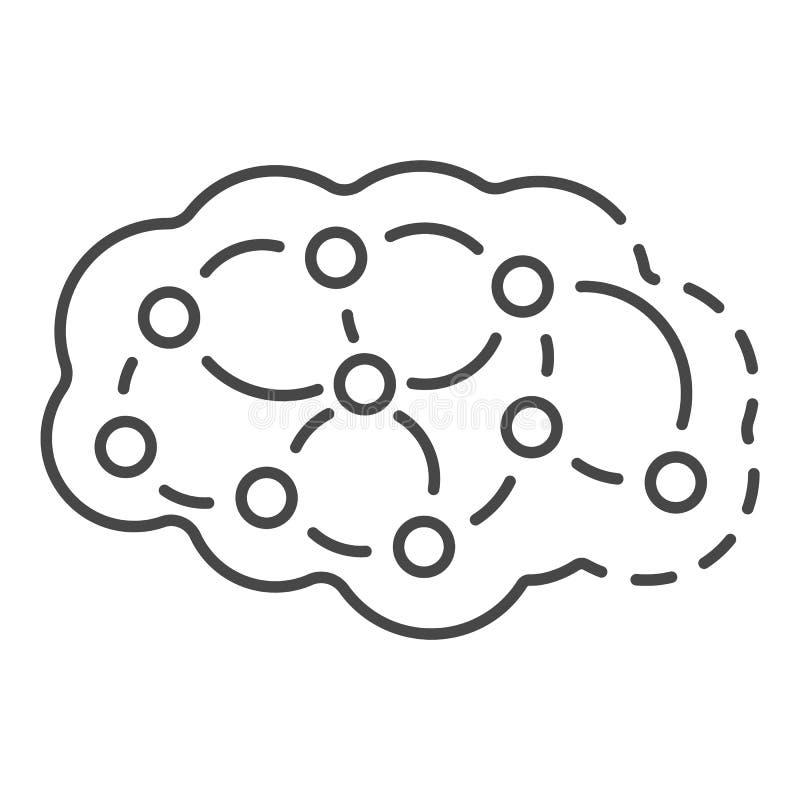 Neuron brain icon, outline style stock illustration