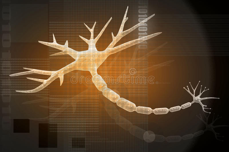 NEURON OP sinaasappel vector illustratie