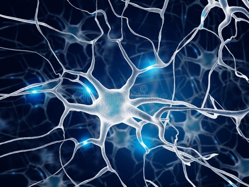 neurona ilustración 3D Color azul ilustración del vector