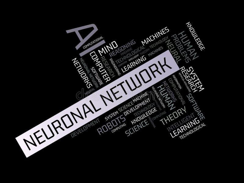 NEURONAL sieć - wizerunek z słowami kojarzącymi z temat SZTUCZNĄ inteligencją, słowo chmura, sześcian, list, wizerunek, illustrat ilustracji
