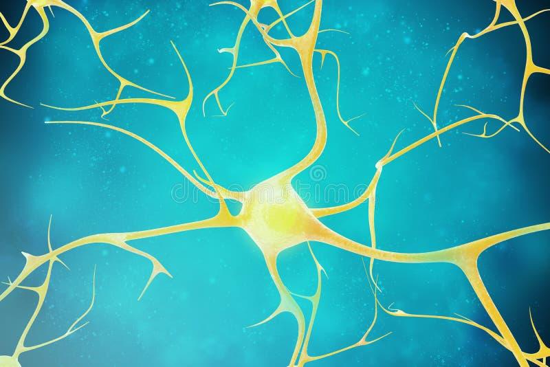 Neuronas en el fondo hermoso ejemplo 3d de un de alta calidad fotografía de archivo libre de regalías