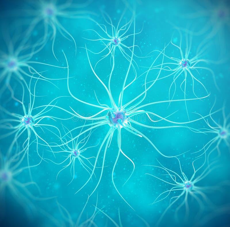 Neuronas en fondo azul ejemplo 3d de alta calidad imagenes de archivo
