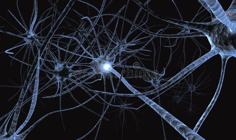 Neuronas que trabajan el detalle Pensamiento fotos de archivo
