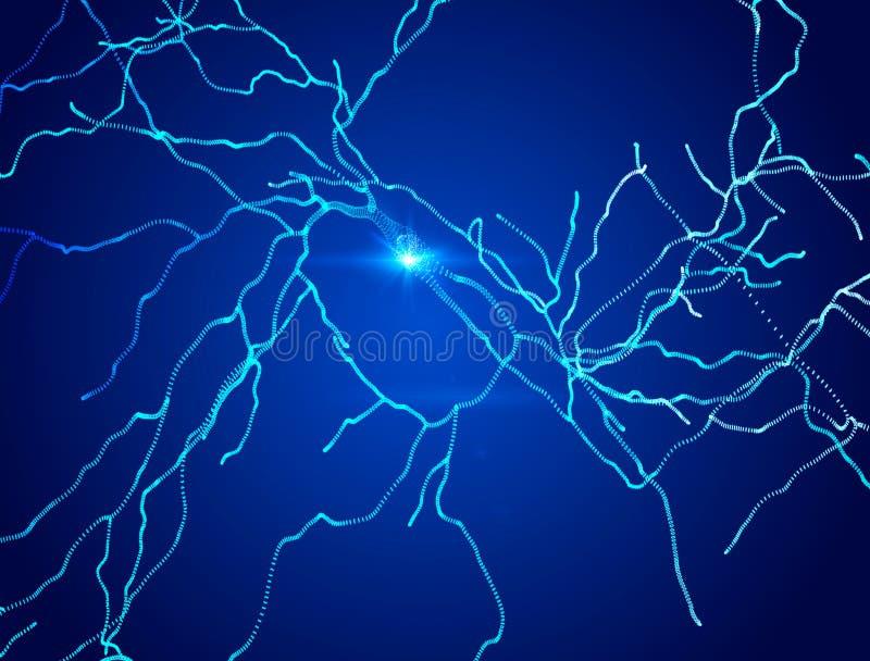 Neuronen, synapsen, neurale netwerkkring van neuronen, hersenen, degeneratieve ziekten, Parkinson royalty-vrije illustratie