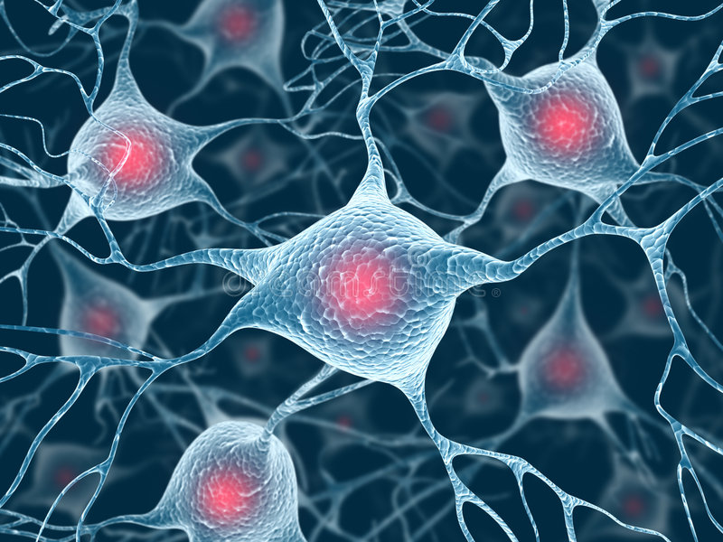 Neuroni e nucleo illustrazione di stock