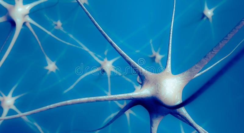 Neurons in brain, 3D illustration of neural network stock photography
