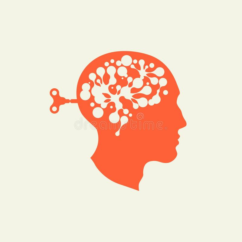 Neurons in the brain royalty free illustration