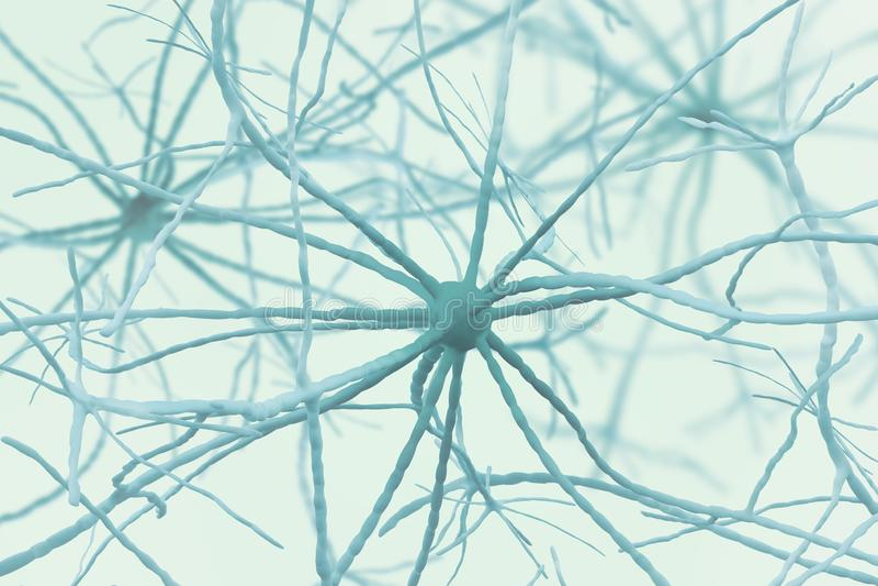 Neurons 3D illustration. Neural networks of the human brain stock illustration