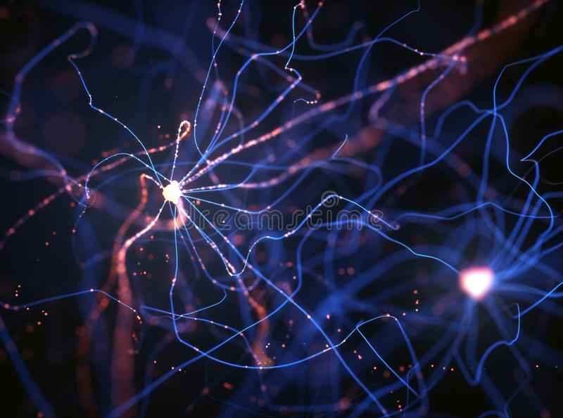 Neurons Electrical Pulses. 3D illustration of Interconnected neurons with electrical pulses royalty free stock images