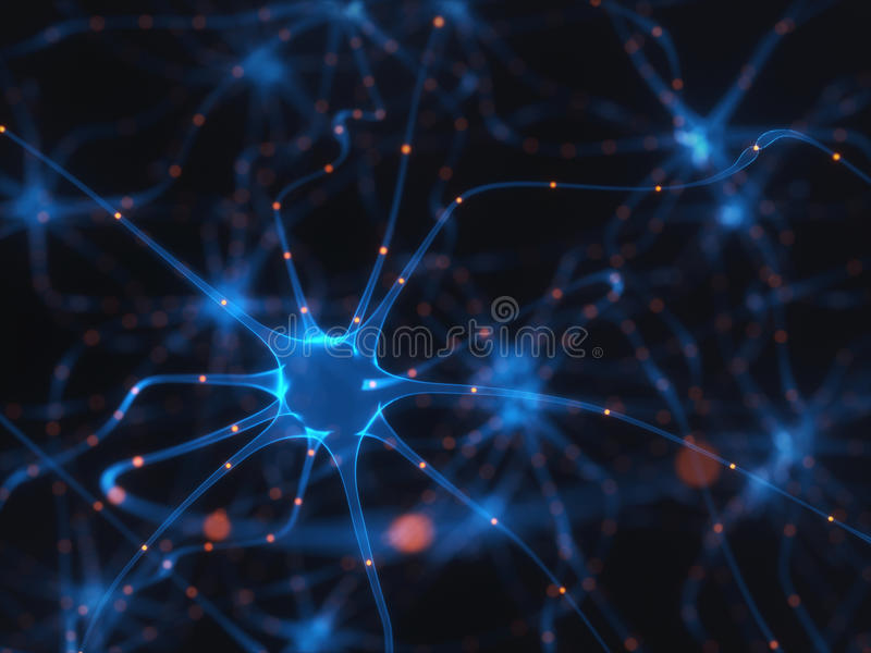 Neurons Electrical Pulses royalty free illustration