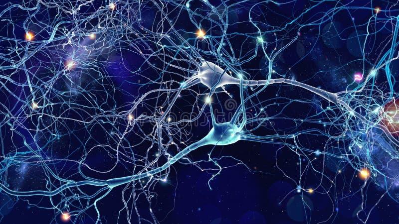 Neuronscellbegrepp royaltyfri illustrationer