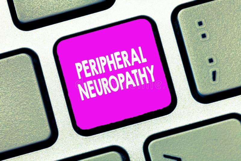 Neuropathy för kringutrustning för textteckenvisning Begreppsmässigt fotovillkor där den perifer nervsystemet är skadad royaltyfria foton