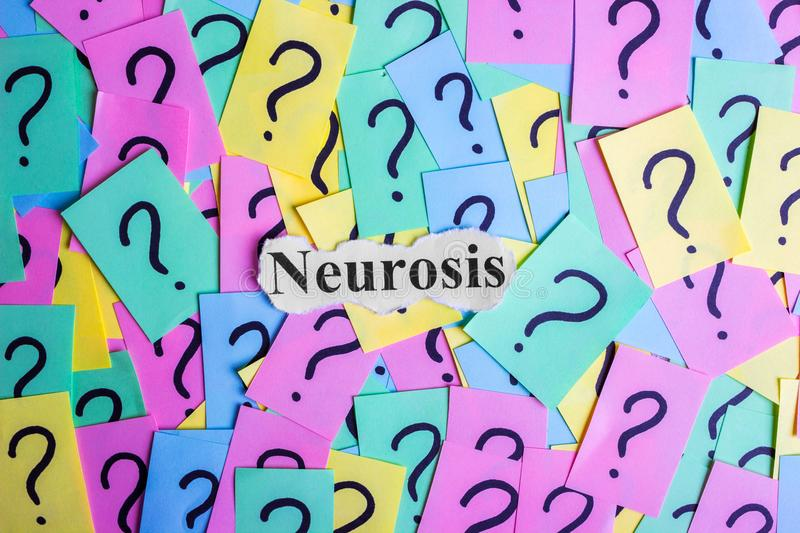 Neurosis Syndrome text on colorful sticky notes Against the background of question marks.  royalty free stock images