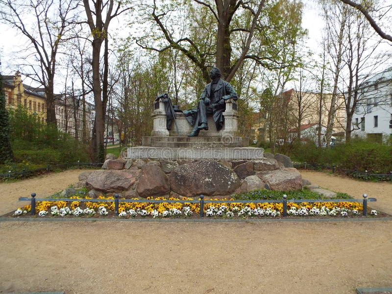 Neuruppin: birthplace of Theodor Fontane. The Fontane monument in Neuruppin, Germany 13.04.2016 stock image