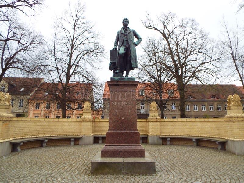 Neuruppin: The Schinkel Monument. The architect Karl Friedrich Schinkel was born in Neuruppin. Germany 13.04.2016 stock photography