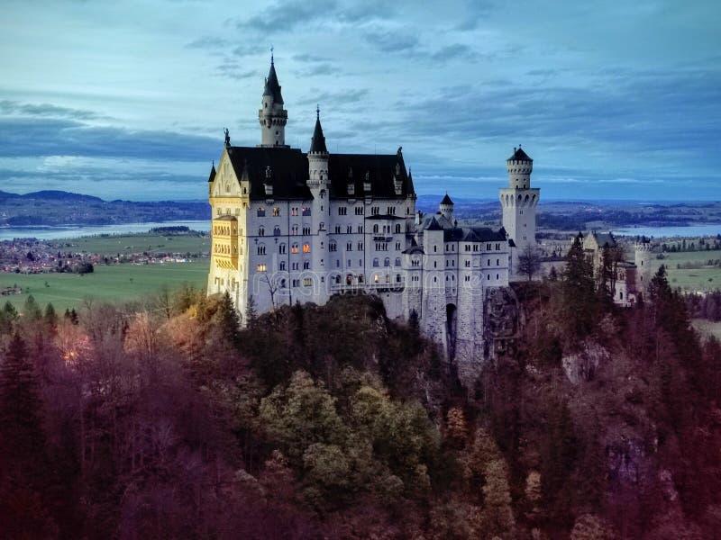 Neuschwangau castle Autumn at twilight royalty free stock photo